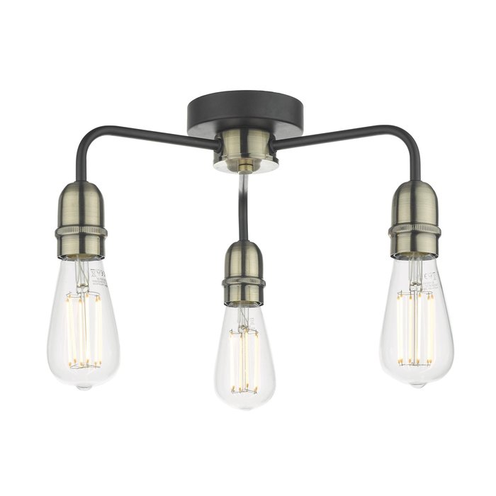 Rod - 3 Light Low Ceiling Industrial Ceiling Light - Black & Brass