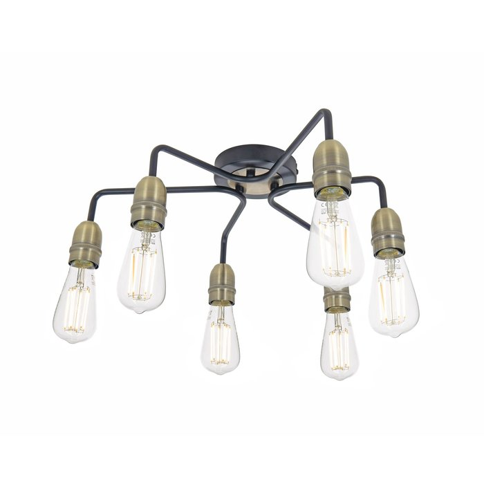 Rod - 6 Light Low Ceiling Industrial Ceiling Light - Black & Brass