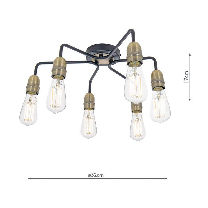 Rod - 6 Light Low Ceiling Industrial Ceiling Light - Black & Brass