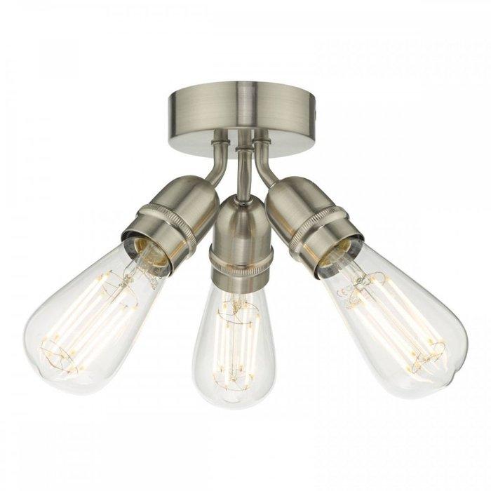 Mini - Small 3 Light Industrial Ceiling Light - Satin Chrome