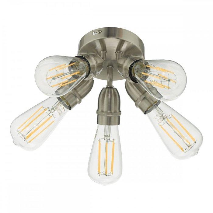 Mini - Small 5 Light Industrial Ceiling Light - Satin Chrome