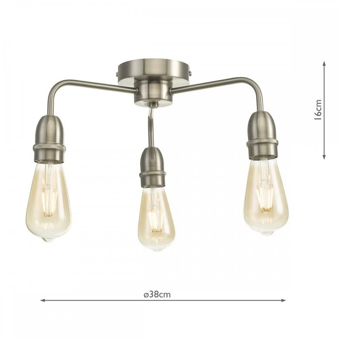 Rod - 3 Light Low Ceiling Industrial Ceiling Light - Satin Chrome