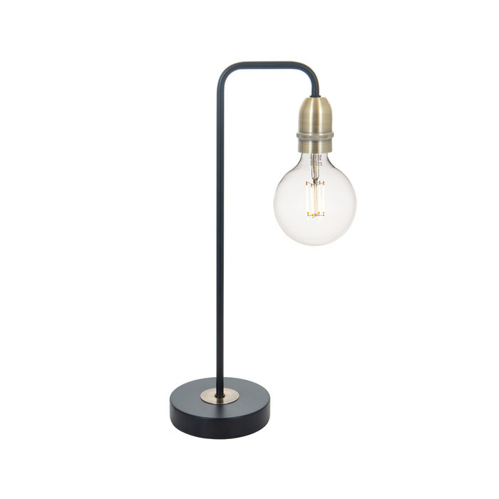 Rod - Matt Black & Brass Industrial Stick Table Lamp