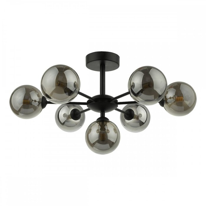 Coen - Mid Century Semi Flush Sputnik Ceiling Light - Black & Smoked Glass