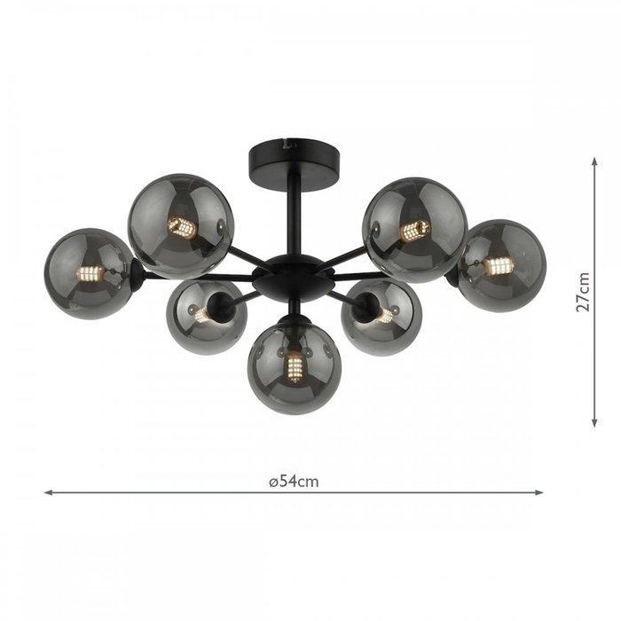 Coen - Mid Century Semi Flush Sputnik Ceiling Light - Black & Smoked Glass