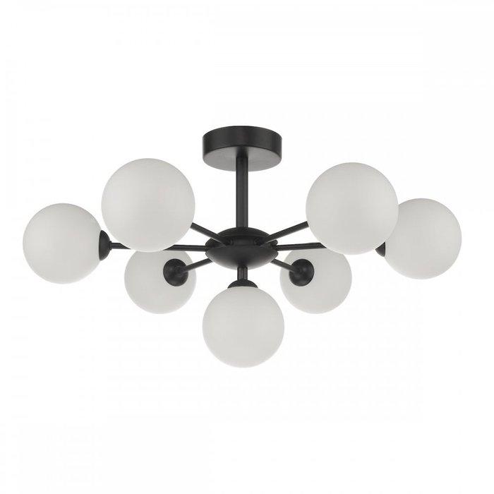 Coen - Mid Century Semi Flush Sputnik Ceiling Light - Black & Opal