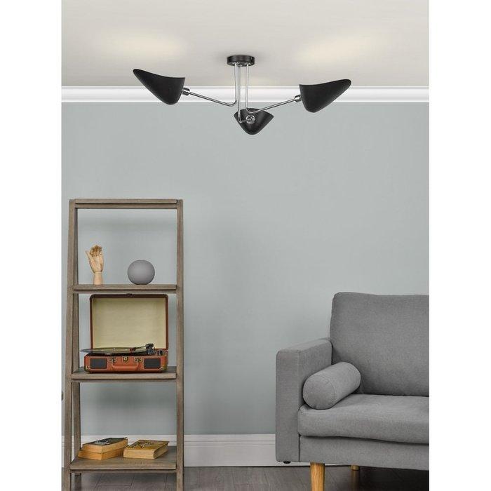 Crew - 50s Modernist Semi Flush Ceiling Light - Black & Chrome - 3 Light