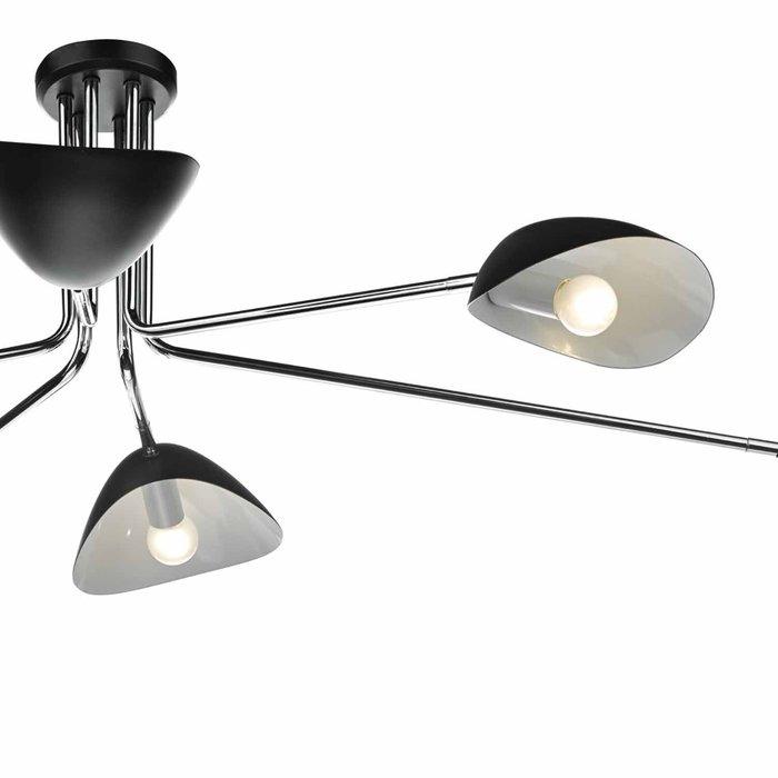 Crew - 50s Modernist Semi Flush Ceiling Light - Black & Chrome - 6 Light