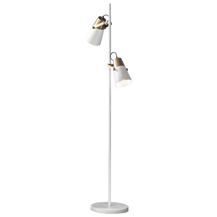 GiGi - Luxe Minimalist Multi-head Floor Lamp - White & Brass