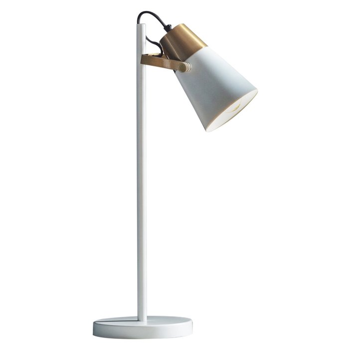 GiGi - Luxe Minimalist Desk Lamp - White & Brass