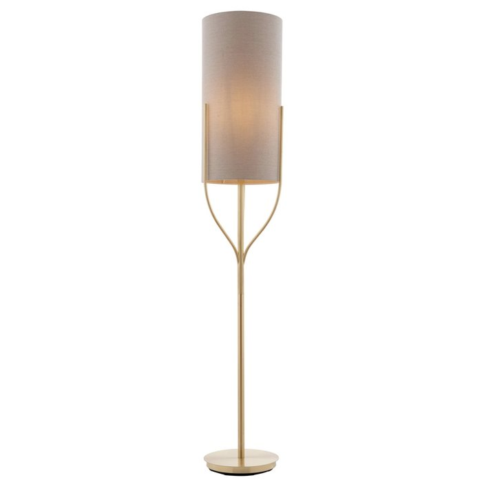 Olive - Organic Tree  Drum Floor Lamp - Brushed Brass & Natural Fabric