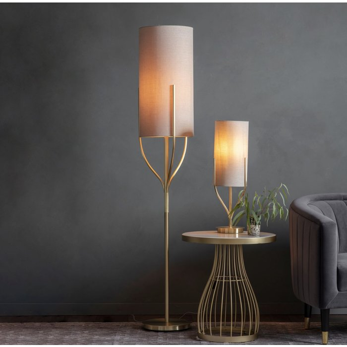 Olive - Organic Tree  Drum Table Lamp - Brushed Brass & Natural Fabric
