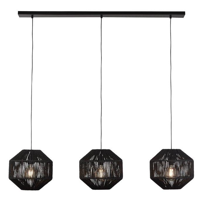 Weave - Black Wicker 3 Light  Bar Pendant