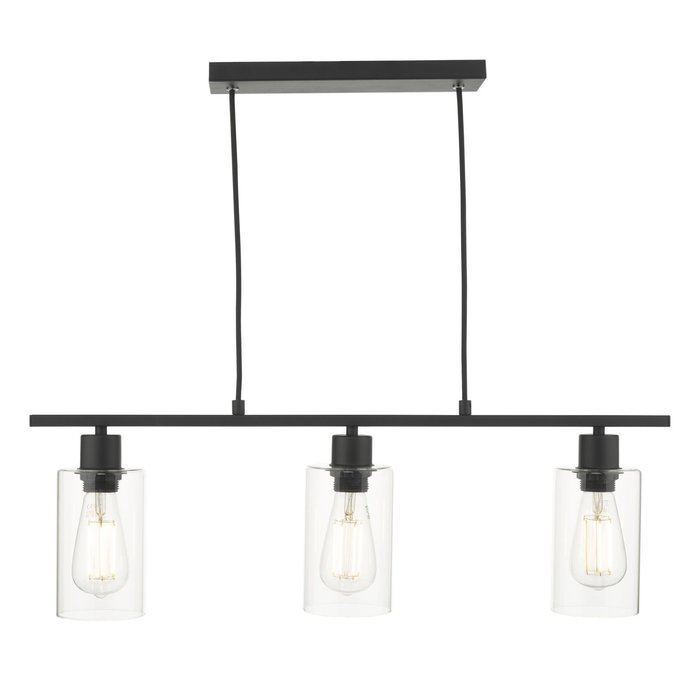 Seattle - Modern Industrial Glass & Matt Black 3 Light Bar Pendant