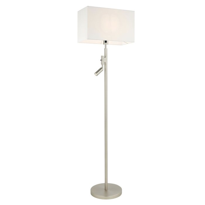 Issey -Rectangular Shade Floor Lamp with LED Reading Spotlight -  Matt Nickel