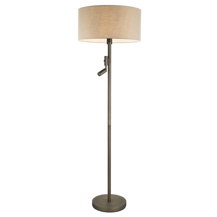 Issey - Modern Drum Floor Light with LED reader - Taupe Fabric & Antique Bronze
