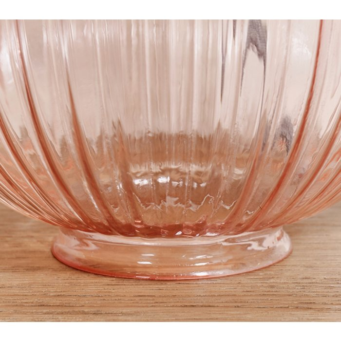 Eve - Soft Pastel Pink Tinted Ribbed Glass Table Lamp & Shade