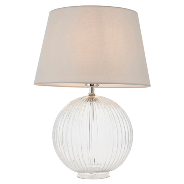 Eve - Clear Ribbed Glass Table Lamp & Light Grey Shade