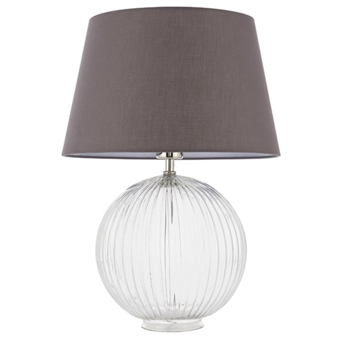 Eve - Clear Ribbed Glass Table Lamp & Charcoal Grey Shade