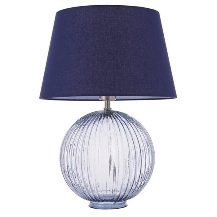 Eve - Smokey Grey Tinted Glass Table Lamp & Navy Shade