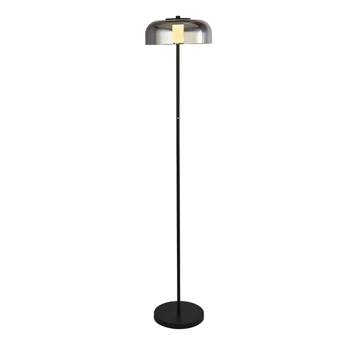 Bjorn - Scandi LED Floor Lamp - Smoked Glass & Black
