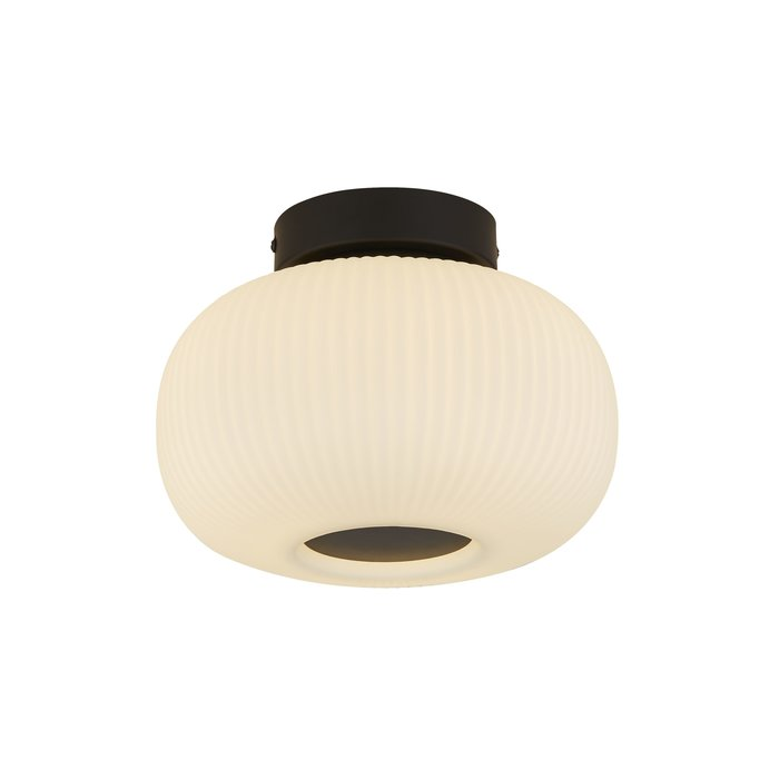 Andor - Scandi Frosted Ribbed Glass Flush Ceiling Light