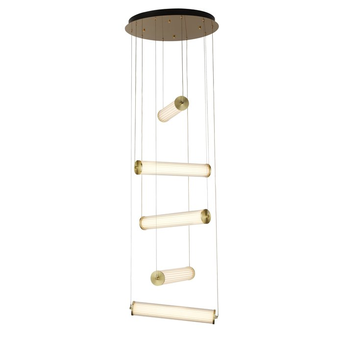 Bar - LED Brushed Gold & Ribbed Glass Cluster Feature Light