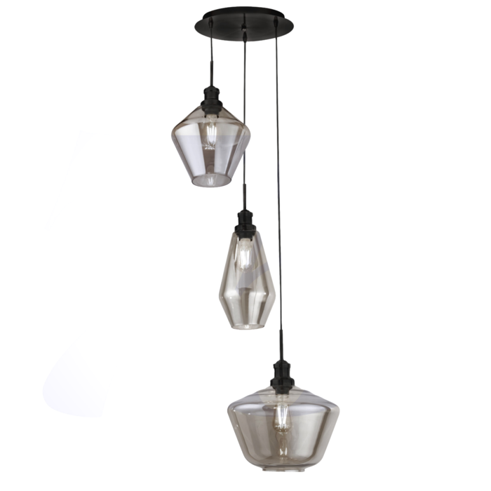 Kia - Multi Drop Cascade Pendant - Smoked Glass & Black