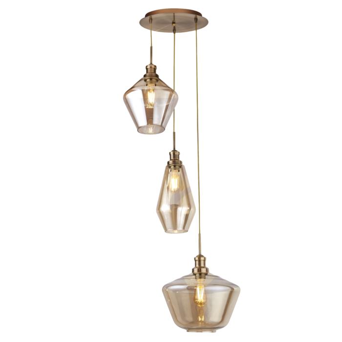 Kia - Multi Drop Cascade Pendant - Amber Glass & Brushed Brass