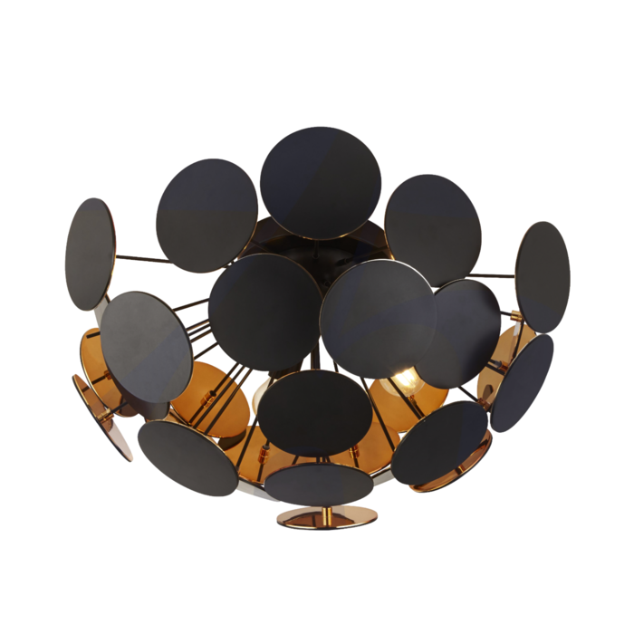 Disc - Black/Gold Semi Flush Sputnik Feature Light