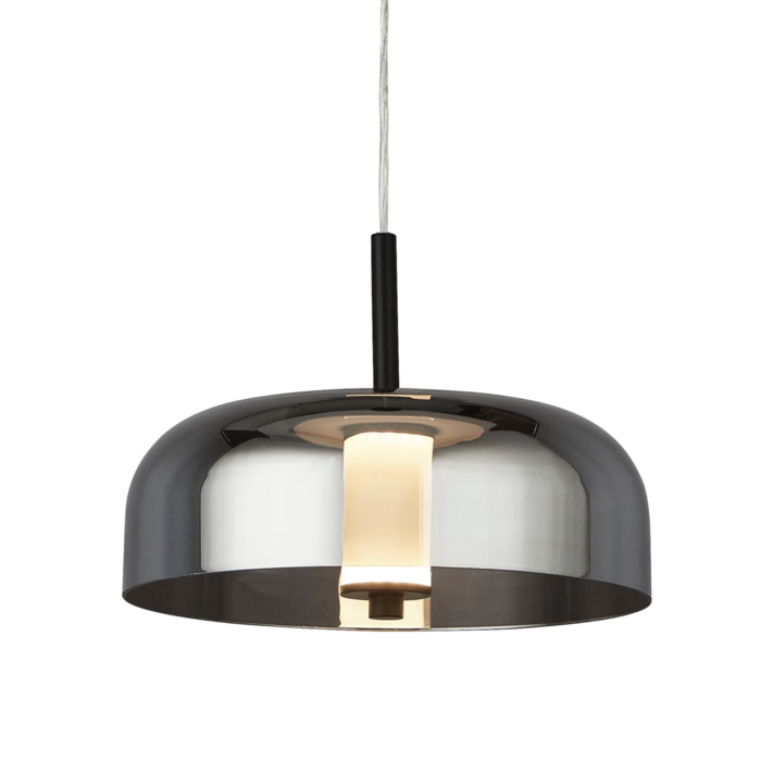Bjorn - Scandi LED Pendant Light - Smoked Glass & Black