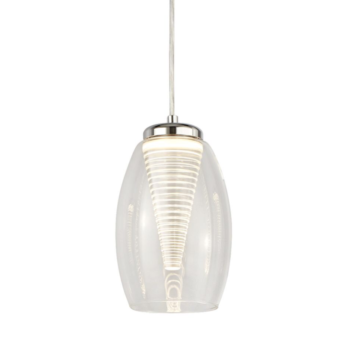 Tornado - Modern LED Pendant - Clear Glass