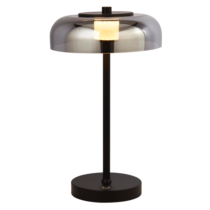 Bjorn - Scandi LED Table Lamp - Smoked Glass & Black