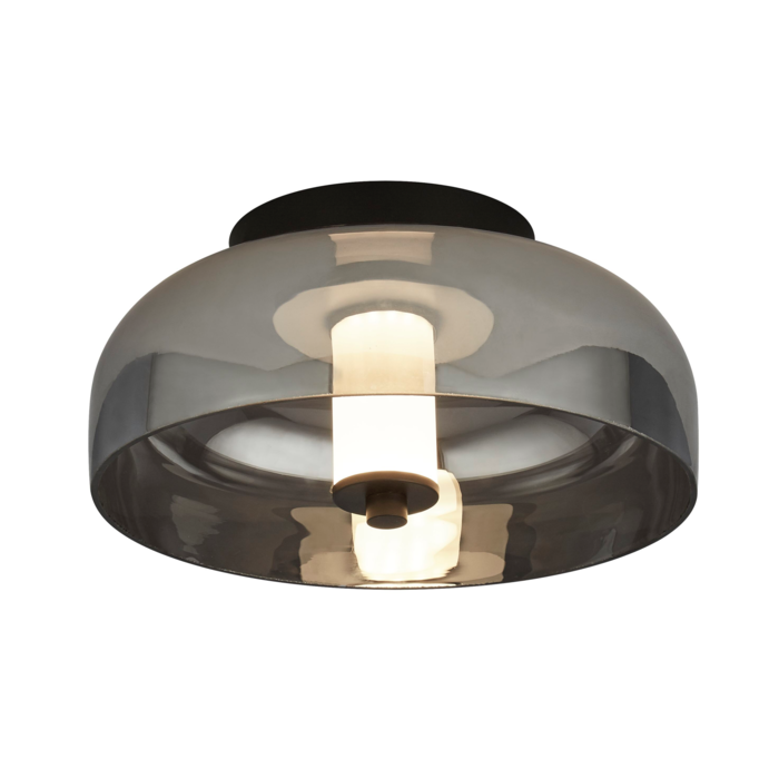Bjorn - Scandi LED Flush Ceiling Light - Smoked Glass & Black
