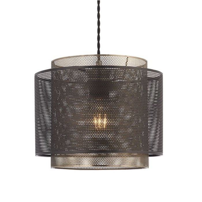 Malin - Brass & Black Etched Metal Drum Shade - Easy Fit Pendant - Large