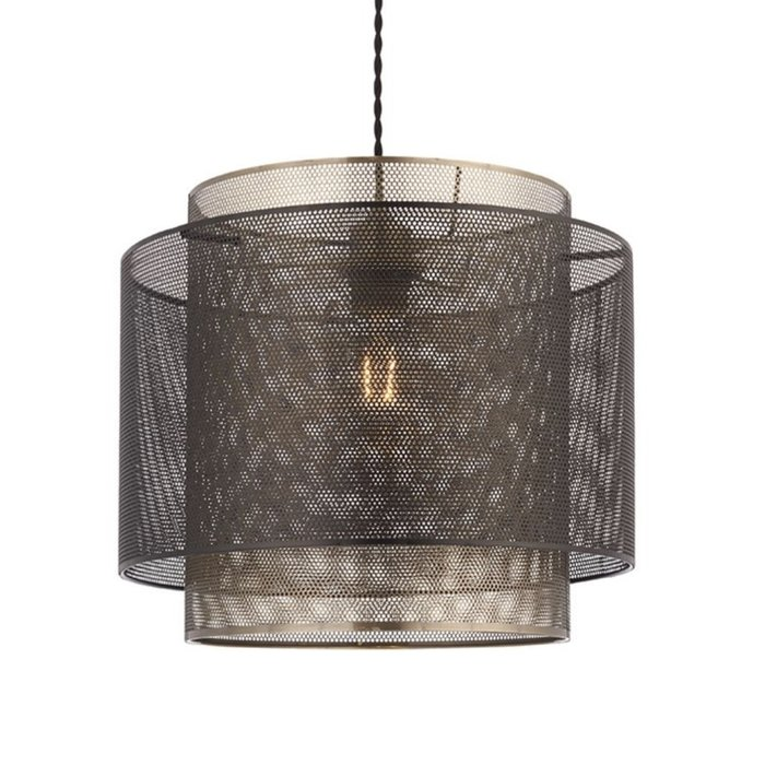 Malin - Brass & Black Etched Metal Drum Shade - Easy Fit Pendant - Small