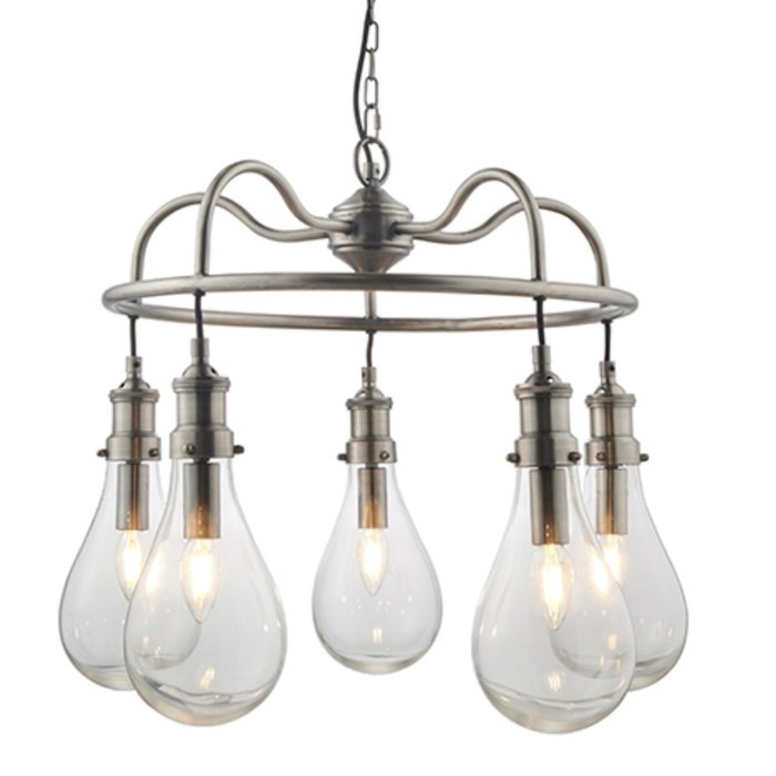 Hassa - Large Indian-Inspired Teardrop Industrial Feature Light - Antique Nickel