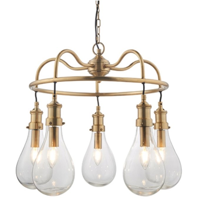 Hassa - Large Indian-Inspired Teardrop Industrial Feature Light - Antique Brass