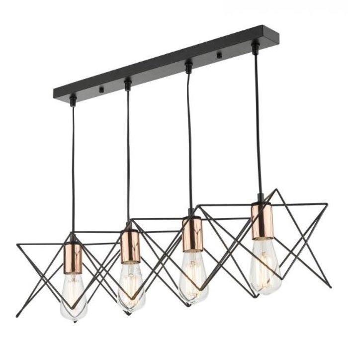 Geometric Black Cage Bar Pendant - Copper