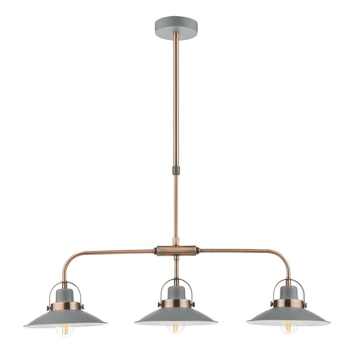 Lido - Graphite Grey and Copper Refined Industrial Bar Pendant Light