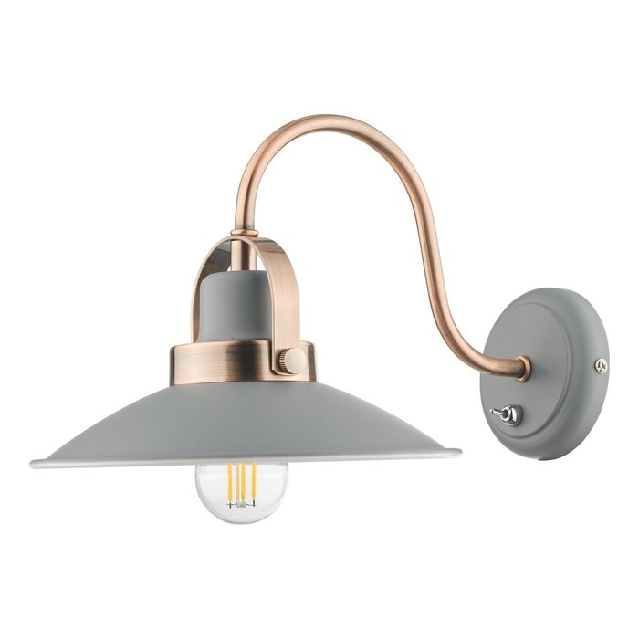 Lido - Graphite Grey and Copper Refined Industrial Wall Light