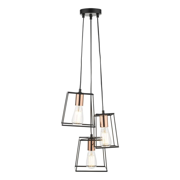 Cube - 3 Light Industrial Cage Cluster Pendant