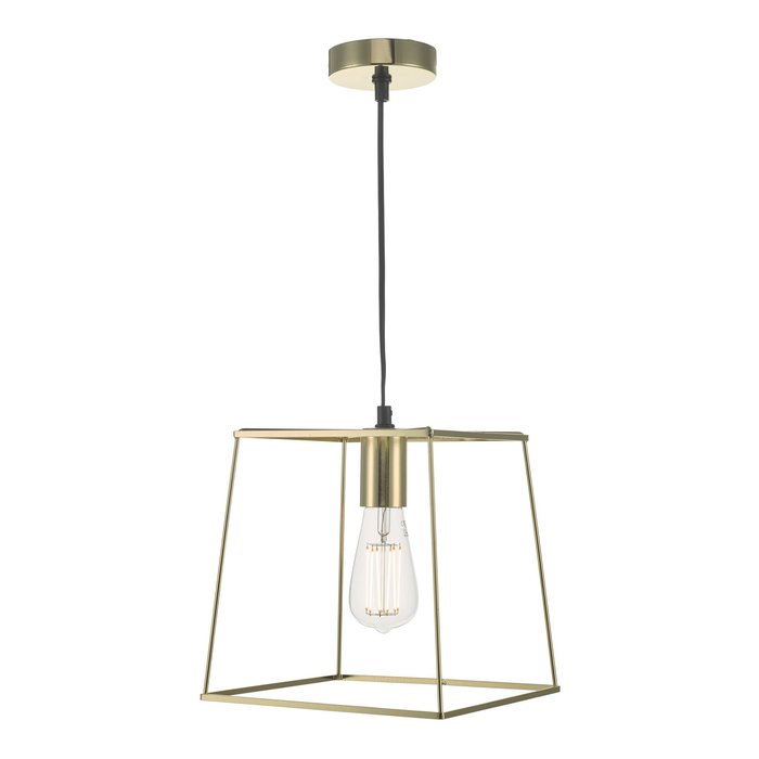 Cube - Polished Gold Cage Pendant Light