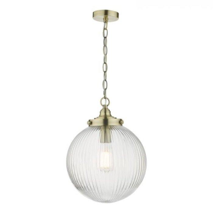 Tara - Ribbed Glass Globe Shape Pendant Light