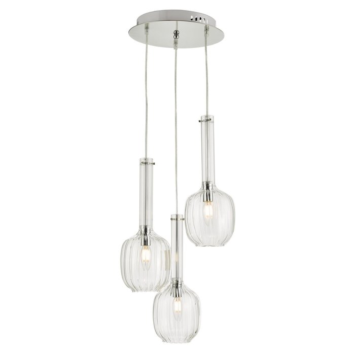 Eiffel - Ribbed Glass Modern 3 Light Cluster - Chrome