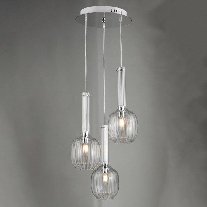 Eiffel - Ribbed Glass Modern 3 Light Cluster - Chrome