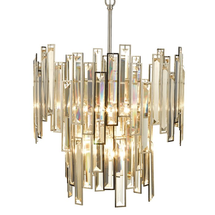 Ondra  - Modern Art Deco Tiered Amber Crystal Chandelier  - Polished Nickel
