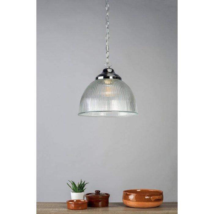 Eton - Parisian Bistro Style Dome Ribbed Glass Pendant