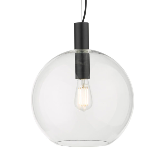 Zula - Clear Glass Globe Pendant Light - Matte Black