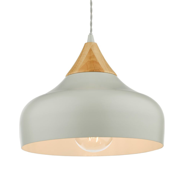 Stellan - Grey & Wood Pendant Light